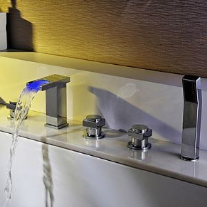 Contemporary Two Handles Color Changing LED Waterfall Tub Faucet Chrome Finish