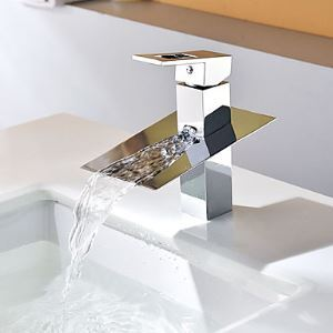 Contemporary Waterfall Chrome Single Handle Bathroom Sink Faucet
