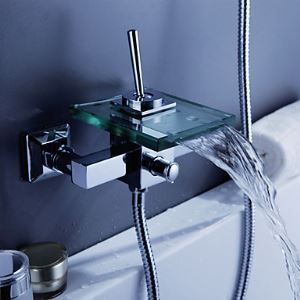 Contemporary Waterfall Tub Faucet with Glass Spout (Wall Mount)