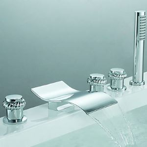 Contemporary Three Handles Waterfall Tub Faucet with Hand Shower (Chrome Finish)
