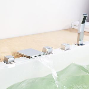 Contemporary Waterfall Widespread Tub Faucet Set of 5 with Hand Shower
