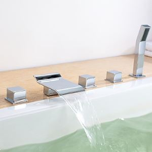 Contemporary Waterfall Widespread Tub Faucet with Hand Shower - Set of 5