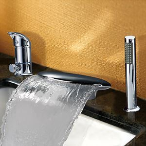 Contemporary Widespread Waterfall Single Handle Tub Faucet With Handshower(Chrome Finish)