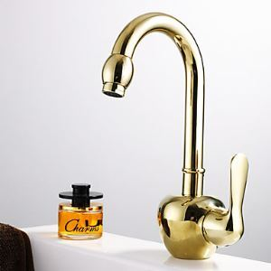 Country Brass Single Handle Ti-PVD Finish  Bathroom Sink Faucet