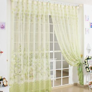 ( One Panel ) Country Green Print Sheer Curtains