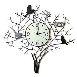 "26""Birds on Tree Wall Clock in metal"