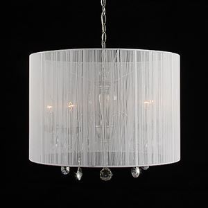 Crystal Pendant Light with 6 Lights in White Shade