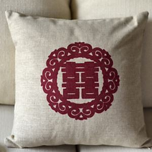 Double Happiness Cotton Decorative Pillow Cover 3