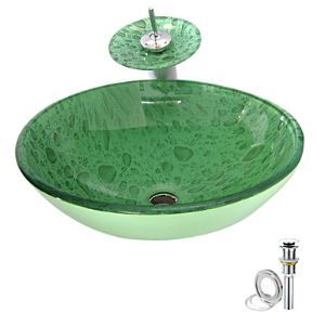 Droplet Tempered glass Vessel Sink With Waterfall Faucet ,Pop - Up drain and Mounting Ring