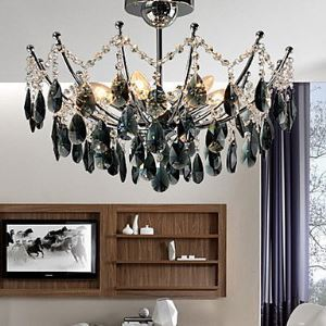 Elegant Black Crystal Chandelier with 6 Lights