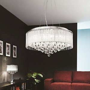 Elegant Crytal Pendant Light with 8 Lights in Cylinder Shade