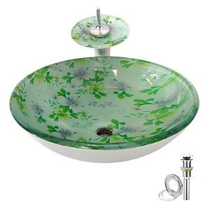 Floral Tempered glass Vessel Sink With Waterfall Faucet ,Pop - Up drain and Mounting Ring