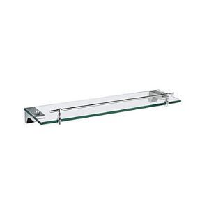 Chrome Finish Glass Shelf with Rail in Right Angle Bracket