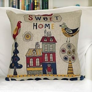 Sweet Home Cotton Decorative Pillow Cover