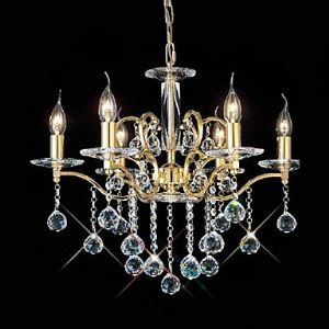 Golden Crystal Chandelier with 6 Lights in Candle Bulb