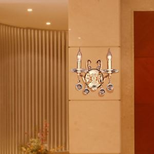 Golden Crystal Wall Light with 2 Lights