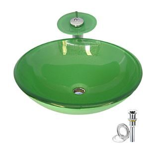 Green Tempered glass Vessel Sink With Waterfall Faucet ,Pop - Up drain and Mounting Ring