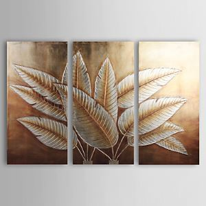 Hand-painted Abstract Oil Painting with Gold and Silver Foil - Set of 3