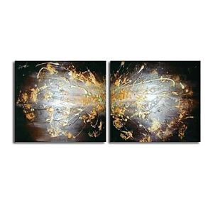Hand-painted Abstract Oil Painting without Frame - Set of 2