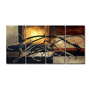 Hand-painted Abstract Oil Painting without Frame - Set of 4