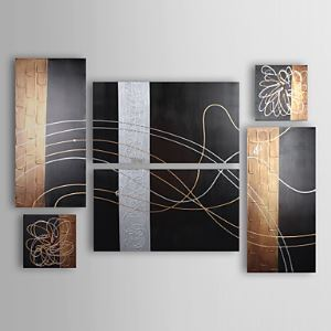Hand-painted Abstract Oil Painting without Frame - Set of 6