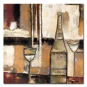 """Hand-painted Abstract Still Life Painting with Stretched Frame 24"""" x 24"""""""