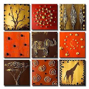 Hand-painted Animal Oil Painting without Frame - Set of 9