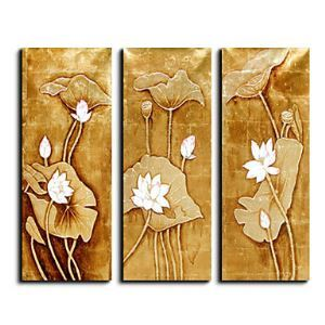 Hand-painted Floral Oil Painting with Gold and Silver Foil - Set of 3