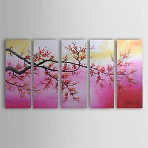 Hand-painted Floral Oil Painting without Frame - Set of 5