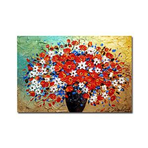 Hand-painted Floral Oil Painting without Frame