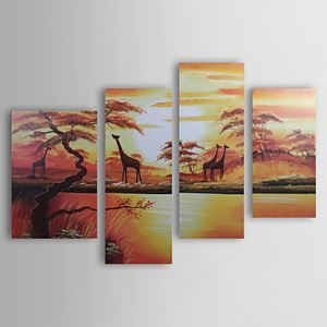 Hand-painted Landscape Oil Painting without Frame - Set of 4