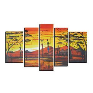 Hand-painted Landscape Oil Painting with Stretched Frame - Set of 5