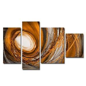 Hand-painted Landscapes Oil Painting with Stretched Frame - Set of 4
