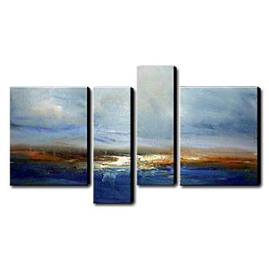Hand-painted Oil Painting Abstract Oversized Landscape Set of 4