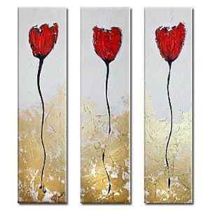 Hand-painted Oil Painting Abstract Oversized Tall Set of 3