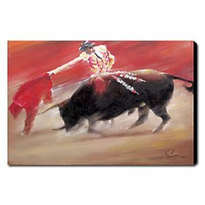 Hand Painted Oil Painting Animal Bullfight 1211-AN0054