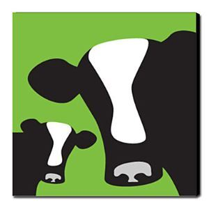Hand Painted Oil Painting Animal Green Cow 1211-AN0020
