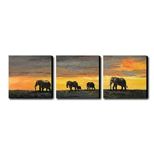 Hand-painted Oil Painting Animal Oversized Landscape Set of 3