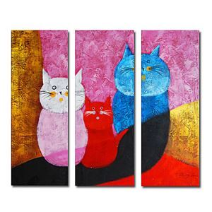 Hand-painted Oil Painting Animal Oversized Wide Set of 3