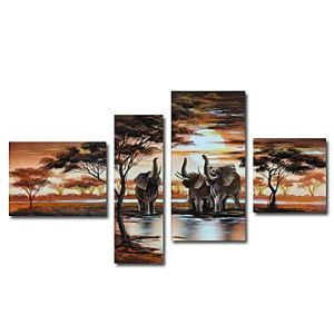 Hand-painted Oil Painting Animal Oversized Wide Set of 4