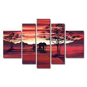 Hand-painted Oil Painting Animal Oversized Wide Set of 5