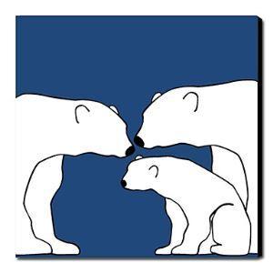 Hand Painted Oil Painting Animal Polar Bear Family 1211-AN0023
