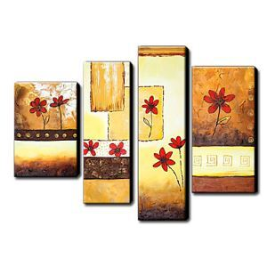 Hand Painted Oil Painting Floral Daisies Set of 4 1211-FL0041