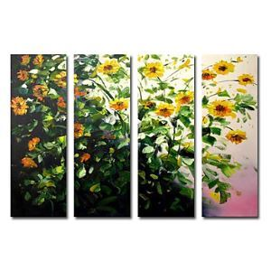 Hand-painted Oil Painting Floral Oversized Wide Set of 4