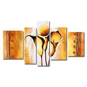 Hand-painted Oil Painting Floral Oversized Wide Set of 5