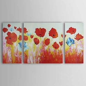 Hand-painted Oil Painting Foloral Oversized Wide Set of 3