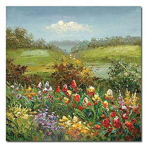 "Hand-painted Oil Painting Landscape 24"" x 24"" Square"