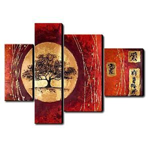 Hand Painted Oil Painting Landscape Set of 4 1211-LS0228