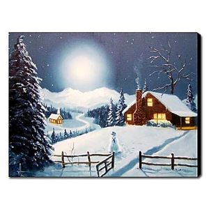 Hand-painted Oil Painting Landscape Christmas Silent Night 1210-LS0007