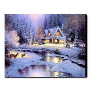 Hand-painted Oil Painting Landscape Christmas Silent Night 1210-LS0009